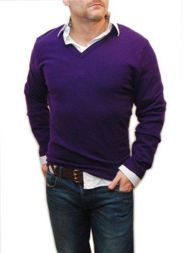 Polo Ralph Lauren Men Cashmere V-Neck Knit Italian Pullover Sweater Purple XL (Italian Cashmere Sweater compare prices)