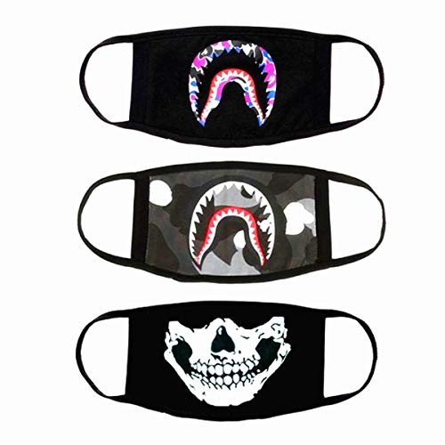 URDEAR 3 Pack Mouth Mask for Men Women Kids, Anti-dust Cotton Shark Mouth Mask Skull Face Mask Fashion Black Mouth Cover for Running Cycling Camping Travel