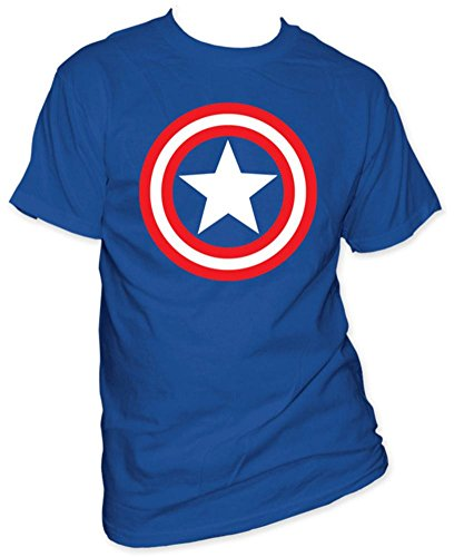 Captain America Shield on Royal T-Shirt Size XL