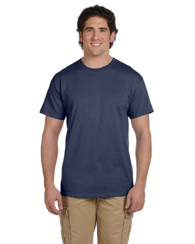 (Fruit of the Loom 5 Oz, 100% Heavy Cotton HD T-Shirt, Large, Denim)