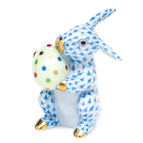 (Herend Easter Bunny Rabbit Porcelain Figurine Blue Fishnet)