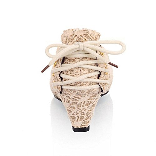 Gold Compensees TAOFFEN Escarpins Mode Lace Femmes UHqq1P4