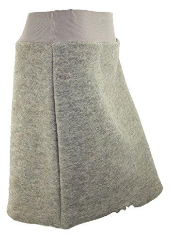 #4151 - Falda de invierno de fieltro para mujer, talla única (36-40), color negro/rojo Beige