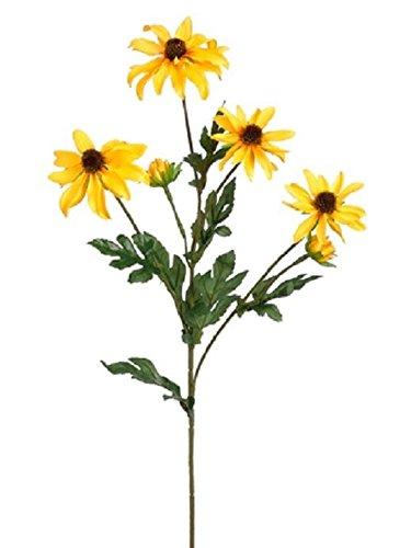 23'' Silk Rudbeckia Black-Eyed Susan Flower Spray Yellow (pack of 12) 739 by Black Decor Home