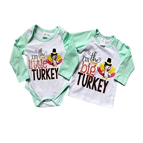 Thanksgiving Sibling Shirts Set Big Brother/Sister T-Shirt & Littler Brother/Sister Onesie Bodysuit Matching Outfit Set (T-Shirt, 3-4 Y)