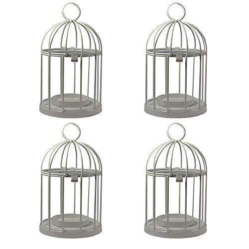Vela Lanterns Mini Birdcage Tealight Lanterns, Set of 4, White