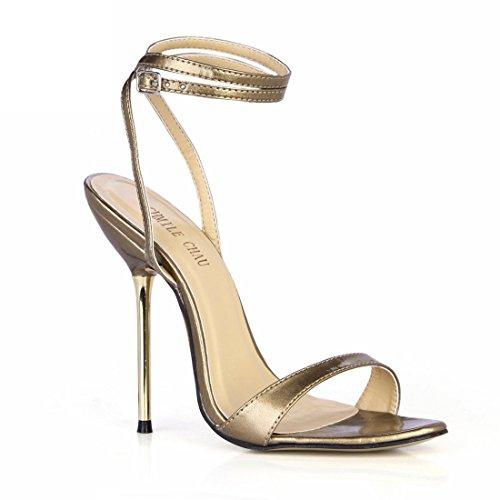 Caviglia Moda Tacco Oro Alto Spillo Sexy a pearl CHMILE da Donna Partito Scarpe Cinturino Sandali a Tacco Metallo alla CHAU UqTOxwz