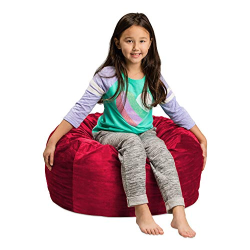 (Sofa Sack - Plush, Ultra Soft Kids Bean Bag Chair - Memory Foam Bean Bag Chair with Microsuede Cover - Stuffed Foam Filled Furniture and Accessories For Kids Room - 2' Cinnabar)