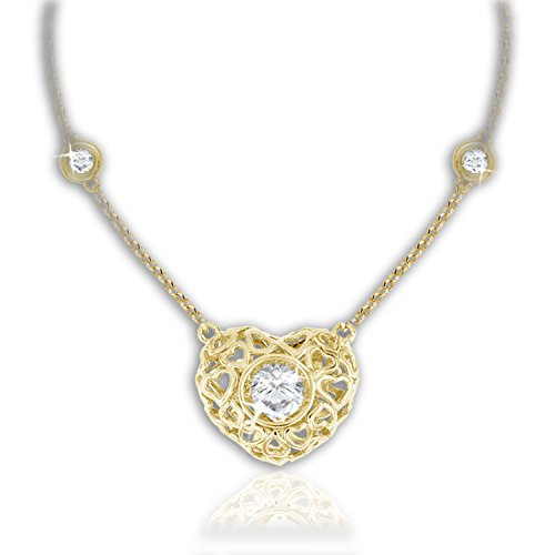 Genuine Sterling Silver with Yellow Gold Plating and Platinum Plating Heart Pendant with Dancing Stone SH48 - Diamond Platinum Pendant Vermeil