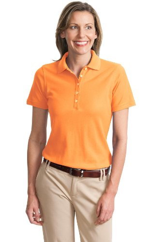 Port Authority Ladies Cotton Pique Knit Sport Shirt, 3XL, Dusty Orange