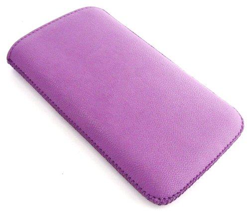 Emartbuy ® Value Pack Para Samsung Galaxy Express I8730 Púrpura Con Textura Pu Bolsa / Caja / Manga / Titular (Tamaño 3Xl) Con Mecanismo Pull Tab + Compatible Micro Usb Car Charger + Protector De Pant