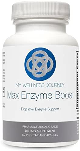 Max Enzyme Boost- Acid Resistant, Vegan Suitable Broad Spectrum Digestive Enzymes- Aids Fat, Protein, Carbohydrate, Fiber and Lactose Digestion- 60 capsules
