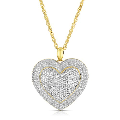 NATALIA DRAKE 2.0 Carat Diamond Pave Heart Pendant-White or Yellow (Yellow)