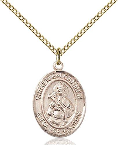 14K Gold Filled Virgen del Carmen Medal Pendant, 3/4 Inch