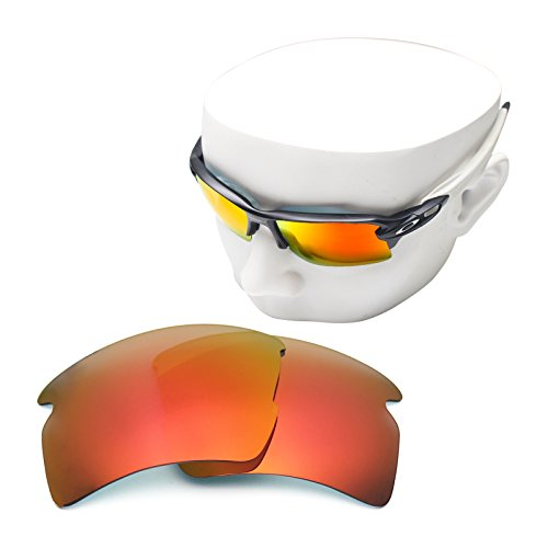 OOWLIT Replacement Sunglass Lenses for Oakley Flak 2.0 XL Fire Red Mirror - Fire Sunglasses