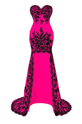Party Fuchsia Prom High Lace Bridal Dresses Appliques Low Bess Women's Oxz0Z6wqzY