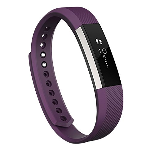 Wishesport For Fitbit Alta HR and Alta Bands, Accessory Soft Silicone Replacement Wristband with Secure Metal Buckle Clasp for Fitbit Alta HR Sport Smart Watch S Purple (Bead Edge Fashion Watch)