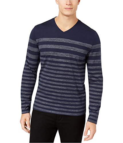 Alfani Navy Stripe - Alfani Long Sleeve Descending Stripe T-Shirt (Neo Navy, XX-Large)