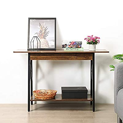 GreenForest Console Table, Large Size Industry Stylish Sofa Table with Extra Shelf Storage, Walnut