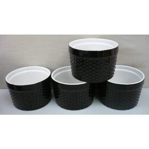 Home Essentials Mini Stoneware Hobnail Black 6oz Ramekins Set of 4