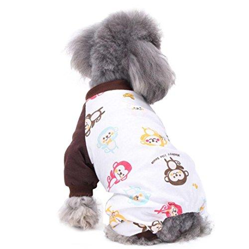 Kim88 2017 Cute Pet Puppy Dog Cotton Pajamas Teddy Dog Soft Homewear Pajamas Jumpsuit (L, Brown)