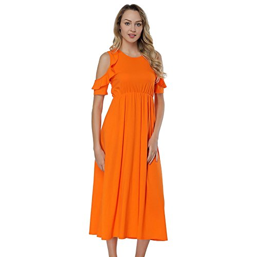 YUMDO Women's Flounce Cold Shoulder Maxi Long Dress Camisole Top Orange S