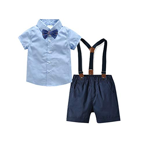 Infant Navy Blue Light - Baby Boys Gentleman Outfits Suits, Infant Short Sleeve Shirt+Bib Pants+Bow Tie Overalls Clothes Set Light Blue