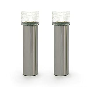 2 Stainless Steel Solar Path Lights, Textured Glass Bollard Top, Warm White LEDs, Rechargeable Battery Included