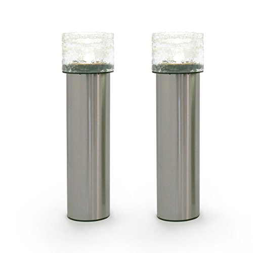 2 Stainless Steel Solar Path Lights, Textured Glass Bollard Top, Warm White LEDs, Rechargeable Battery - Lights Top Steel Solar Stainless