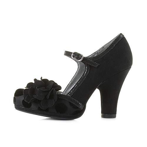 Shoo Ladies 1950'S Friendly Shoes UK 6 Nero 09219 Inspired Hannah Vegan 39 EU Vintage Ruby FcR4c