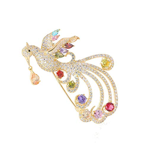 Luxury Phoenix Brooches For Women Men Gold Color Copper Animal Wedding Jewelry Banquet Brooch Pins,Gold