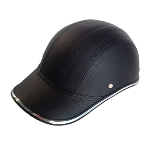 Motorcycle Bicycle Scooter Half Helmet PU Leather Baseball Cap Style Unisex Fashion Hard Hat Open Face Safety Helmet