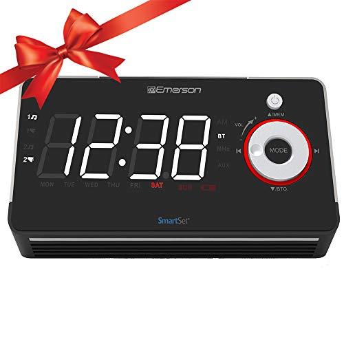 Emerson Smartset Alarm Clock Radio with Bluetooth Speaker, U