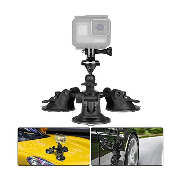 Car Windshield Suction Cup Holder with 360 Degree Rotatable Adapter for GoPro Hero4 1// for SJCAM SJ4000 SJ6000 Durable 3+// 3//2 SJ5000