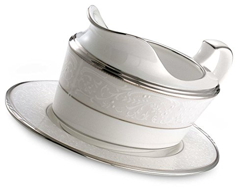 Noritake Silver Palace 2-Piece Gravy Boat with Tray by Noritake