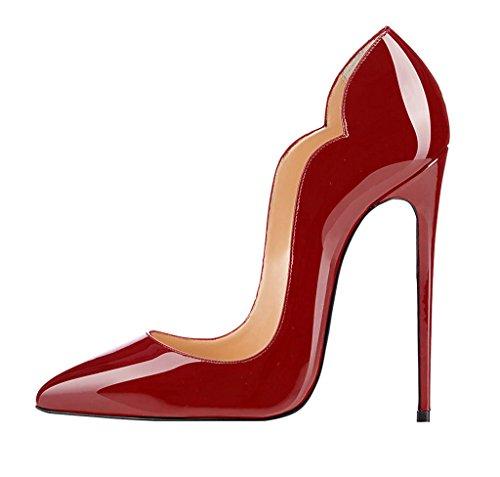 EDEFS Escarpins Femmes - Noir - Stiletto - Plusieurs Coloris- Brillant Synthétique - Talon Aiguille - Bout Pointu Fermé Burgundy WBXJrt