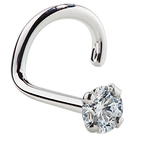 FreshTrends 1.5mm 0.015 ct. tw Diamond 14K White Gold Nose Ring Twist Screw ()