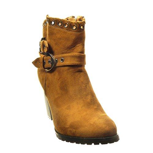 Angkorly - Chaussure Mode Bottine rangers santiags - cowboy femme perforée boucle Talon haut bloc 8.5 CM - Intérieur Fourrée - Camel