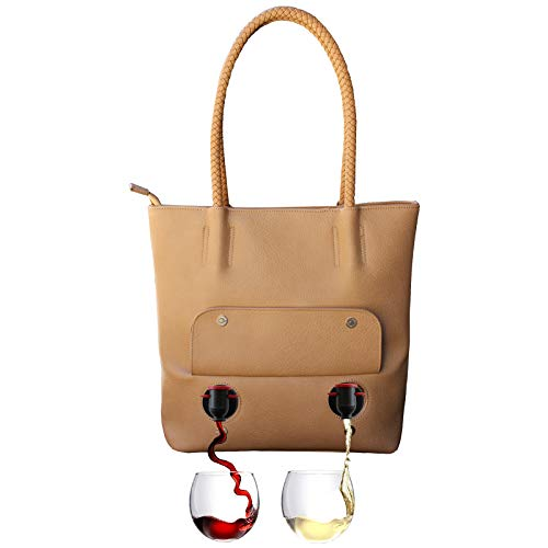 PortoVino'Double Pour' Tuscany Vegan Leather Tote (Chardonnay) - Fashionable Purse With Hidden, Insulated Compartment, Holds 2 separate Bottles Of Wine!
