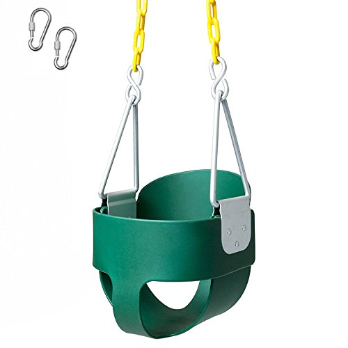Toddler Seat Attachment (Full Bucket Swing Seat - Toddler High Back Green Swing with Chain)