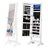 Mecor 6 LEDs Jewelry Cabinet with Mirror, Full Length Standing Mirror with Storage, Lockable Jewelry Armoire Makeup Organizer with 2 Drawers,5 Shelves,3 Adjustable Angle White