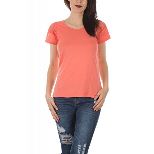 Ideal Shoes–by swan–Shirt mit Teil aus Spitze Naeva Korallenrot
