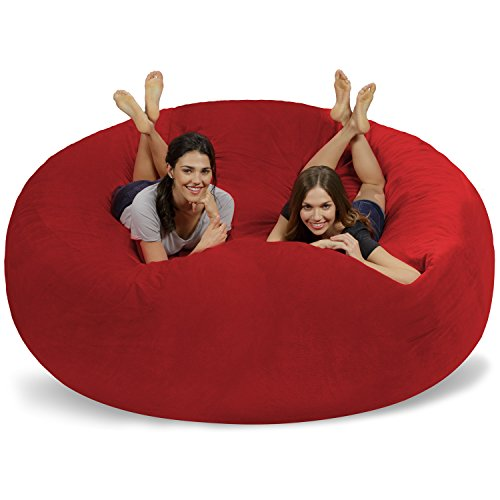 Chill Sack Bean Bag Chair: Giant 8' Memory Foam Furniture Bean Bag - Big Sofa with Soft Micro Fiber Cover - Red Pebble