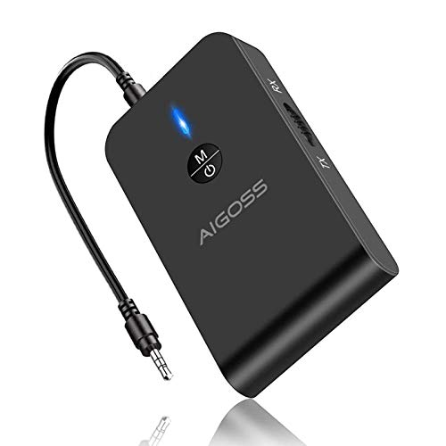 Aigoss Bluetooth 5.0 Transmitter Receiver, Portable Wireless Audio Adapter for TV, Car Home Music Stereo Sound System…