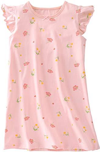 HOYMN Girls' Nightgowns Nighties Floral Sleep Shirts Cotton Flutter Sleeve Sleepwear 3-12 Years