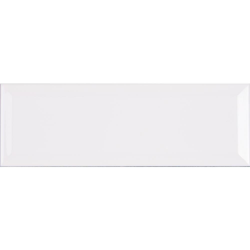 White Ceramic Beveled Subway Tile 4'' X 12'' (Box of 10 Sq Ft)- Glossy Finish