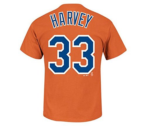 Matt Harvey New York Mets #33 MLB Men's Player Name & Number T-shirt Orange (Medium)