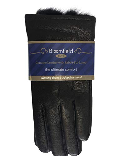 Men's Luxurious Genuine Leather with Rabbit-Fur Lined Gloves,Fine Leather,X-Large