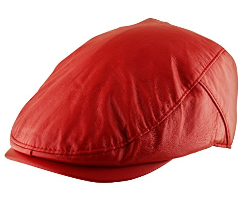 - Itzu Men's Flat Cap Plain Faux Leather Hat Pre Curved Lined Vintage Gatsby Golf Newsboy in Red