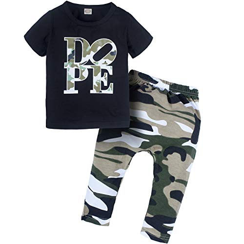 YIJIUJIU 2Pcs Toddler Kids Baby Little Boys Letters Printed Tops T-Shirt Camo Pants Outfits Set Black Clothes 3-4T